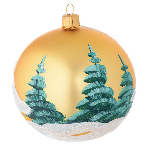 Christmas bauble in golden blown glass with houses 100mm 2