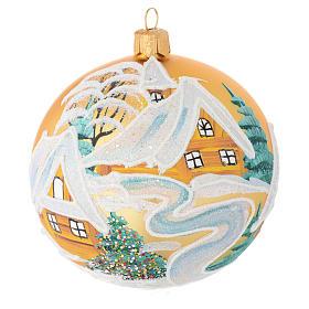 Boules de Noël: Boule Noël verre soufflé or décor maisons 100 mm