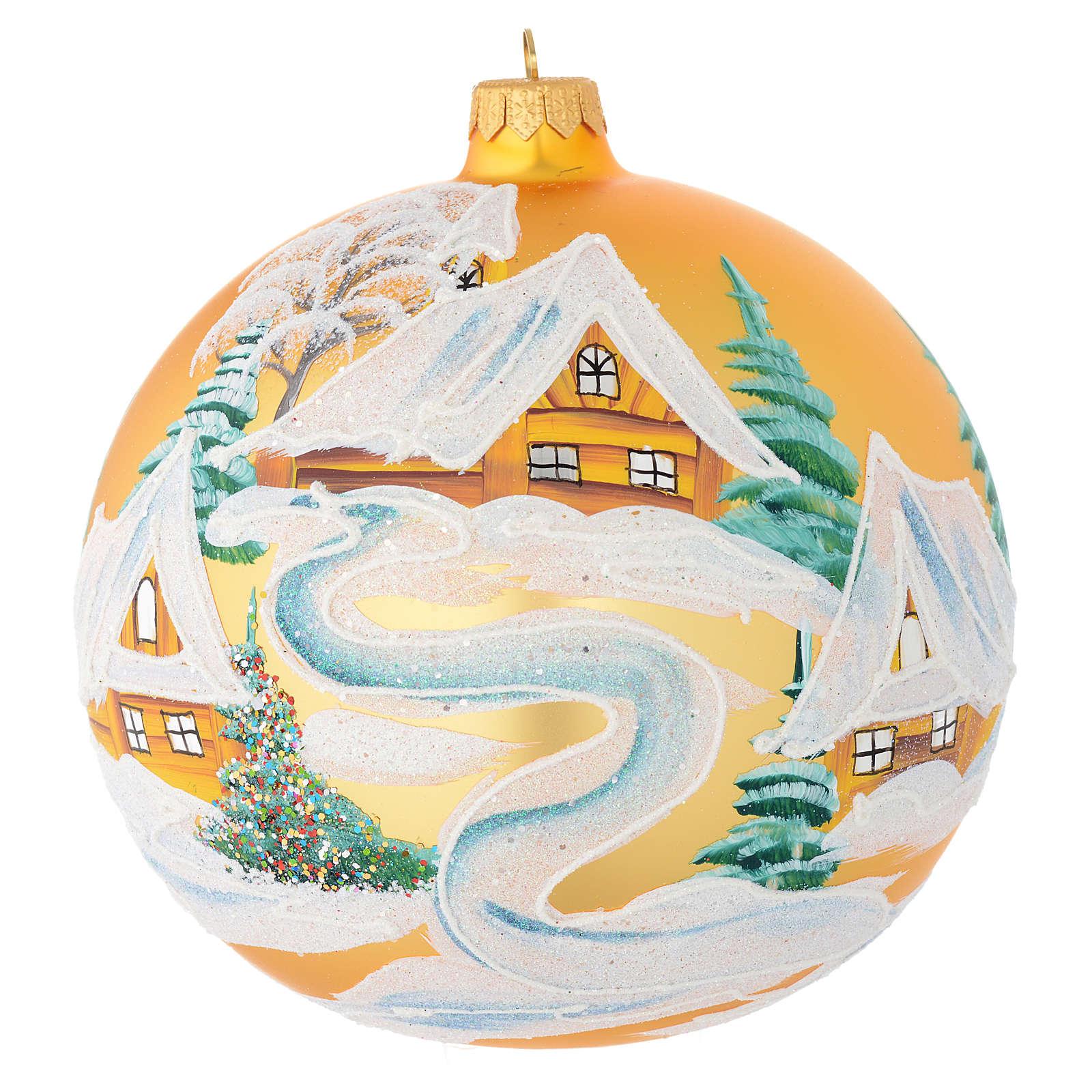 Boule Noël verre soufflé or décor maisons 150 mm 4