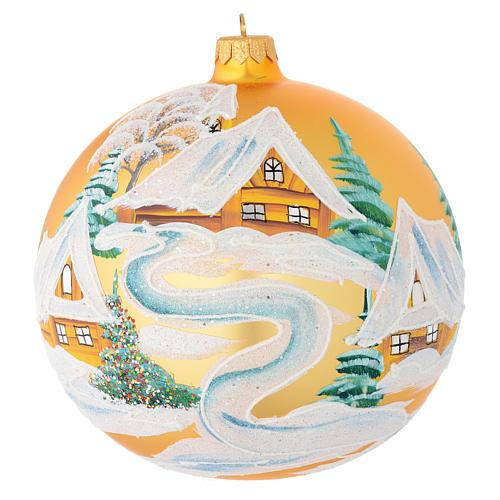 Boule Noël verre soufflé or décor maisons 150 mm 1