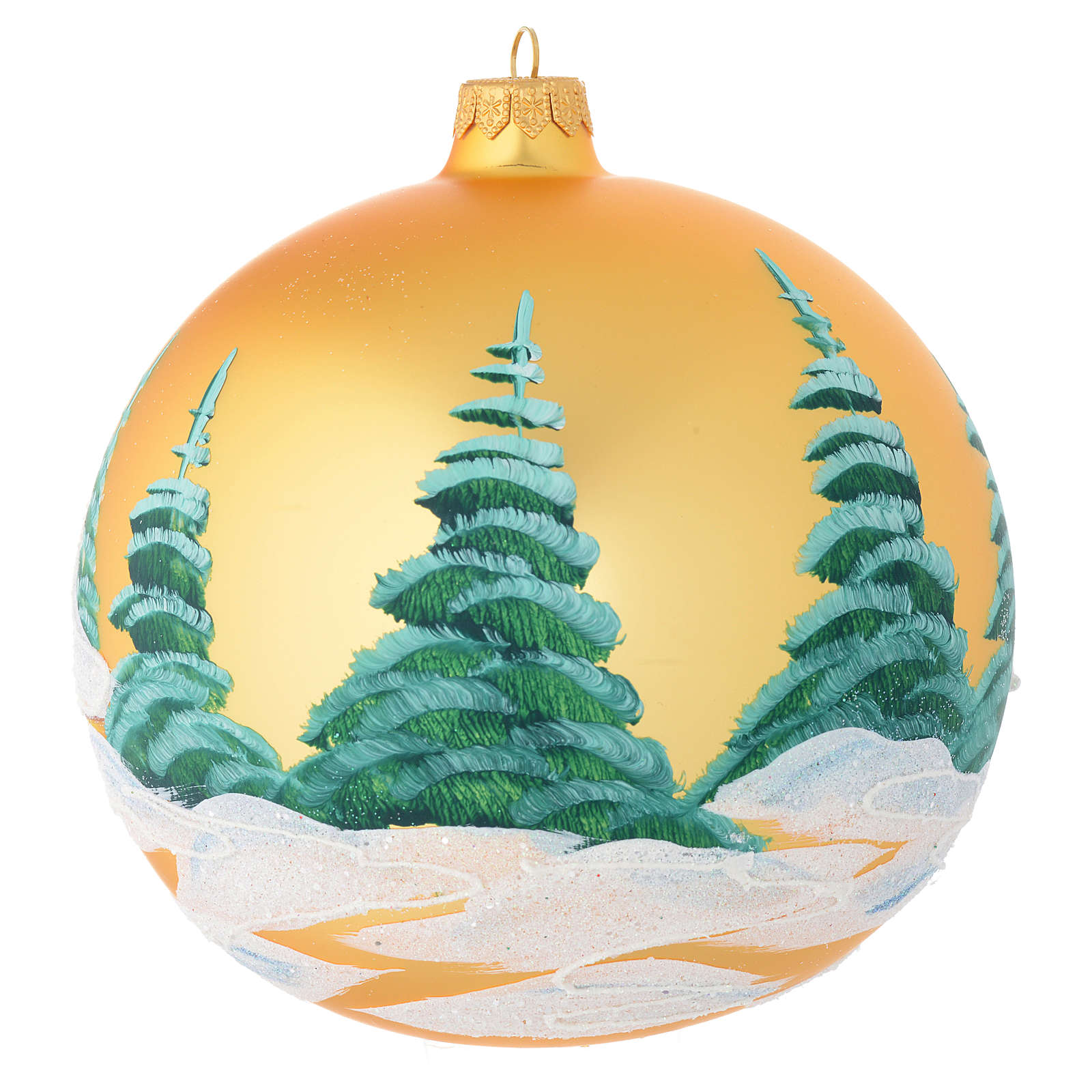 Christmas bauble in golden blown glass with houses 150mm 4