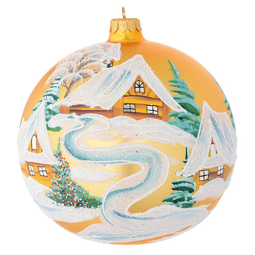 Christmas bauble in golden blown glass with houses 150mm 1