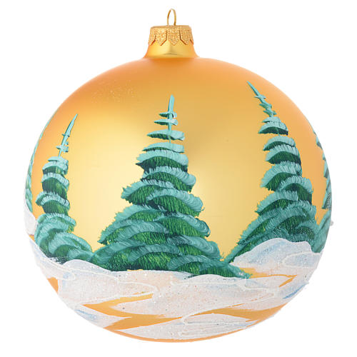 Christmas bauble in golden blown glass with houses 150mm 2