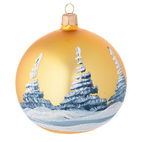 Christmas bauble in golden blown glass with decoupage landscape 100mm s2