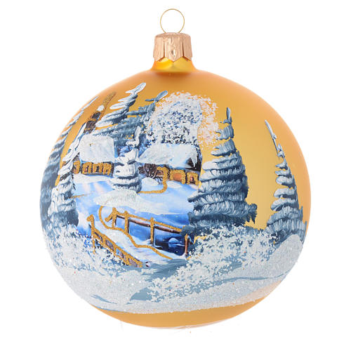 Christmas bauble in golden blown glass with decoupage landscape 100mm 1