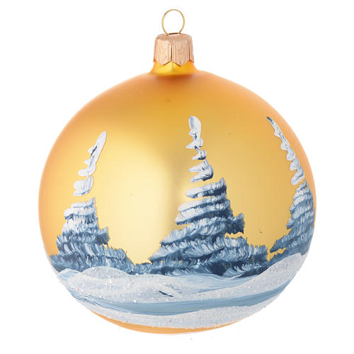 Christmas bauble in golden blown glass with decoupage landscape 100mm 2