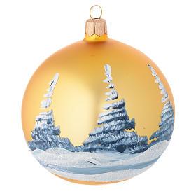 Pallina Albero Natale oro paesaggio decoupage 100 mm s2