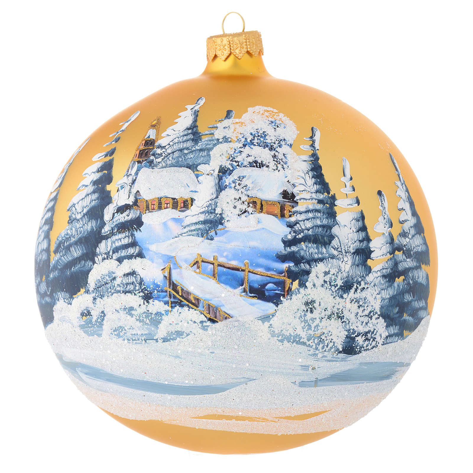 Christmas bauble in golden blown glass with decoupage landscape 150mm 4