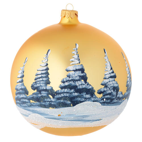 Christmas bauble in golden blown glass with decoupage landscape 150mm 2
