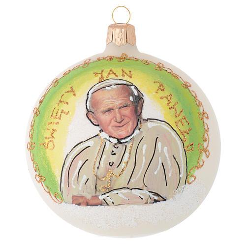 Boule sapin pape Jean-Paul II verre soufflé 100 mm 1