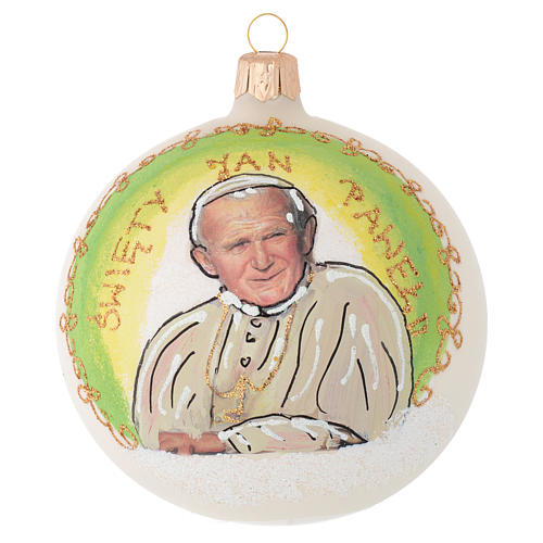 Christmas bauble in blown glass with Pope John Paul II 100mm 1
