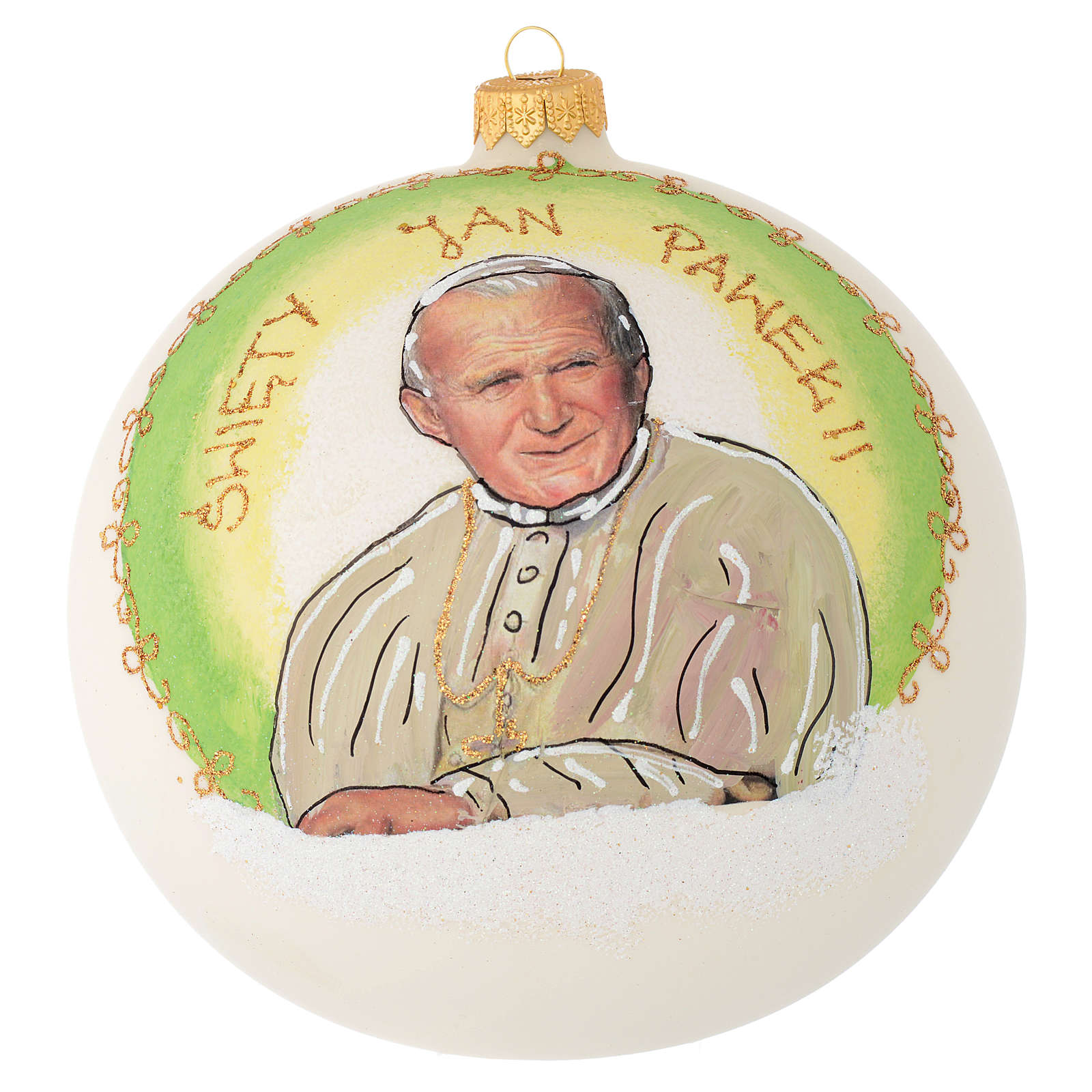 Christmas bauble in blown glass with Pope John Paul II 150mm 4