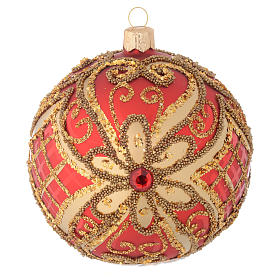 Christmas bauble in red blown glass with decorations in relief 100mm s1