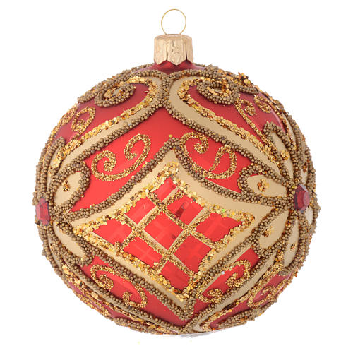 Christmas bauble in red blown glass with decorations in relief 100mm 2