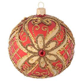 Bombka bożonarodzeniowa czerwona dekoracje reliefowe 100mm s1