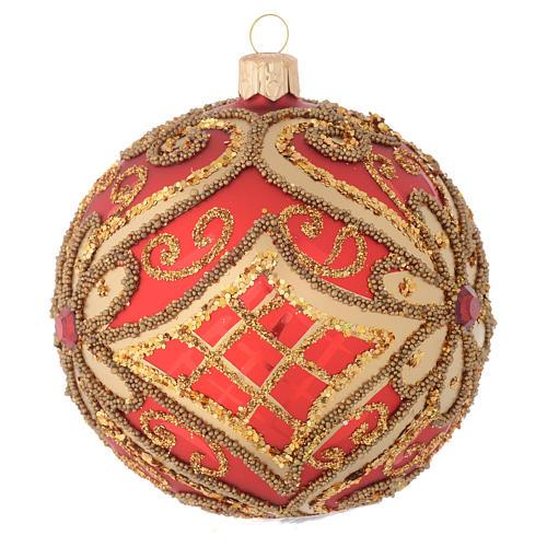 Bombka bożonarodzeniowa czerwona dekoracje reliefowe 100mm 2