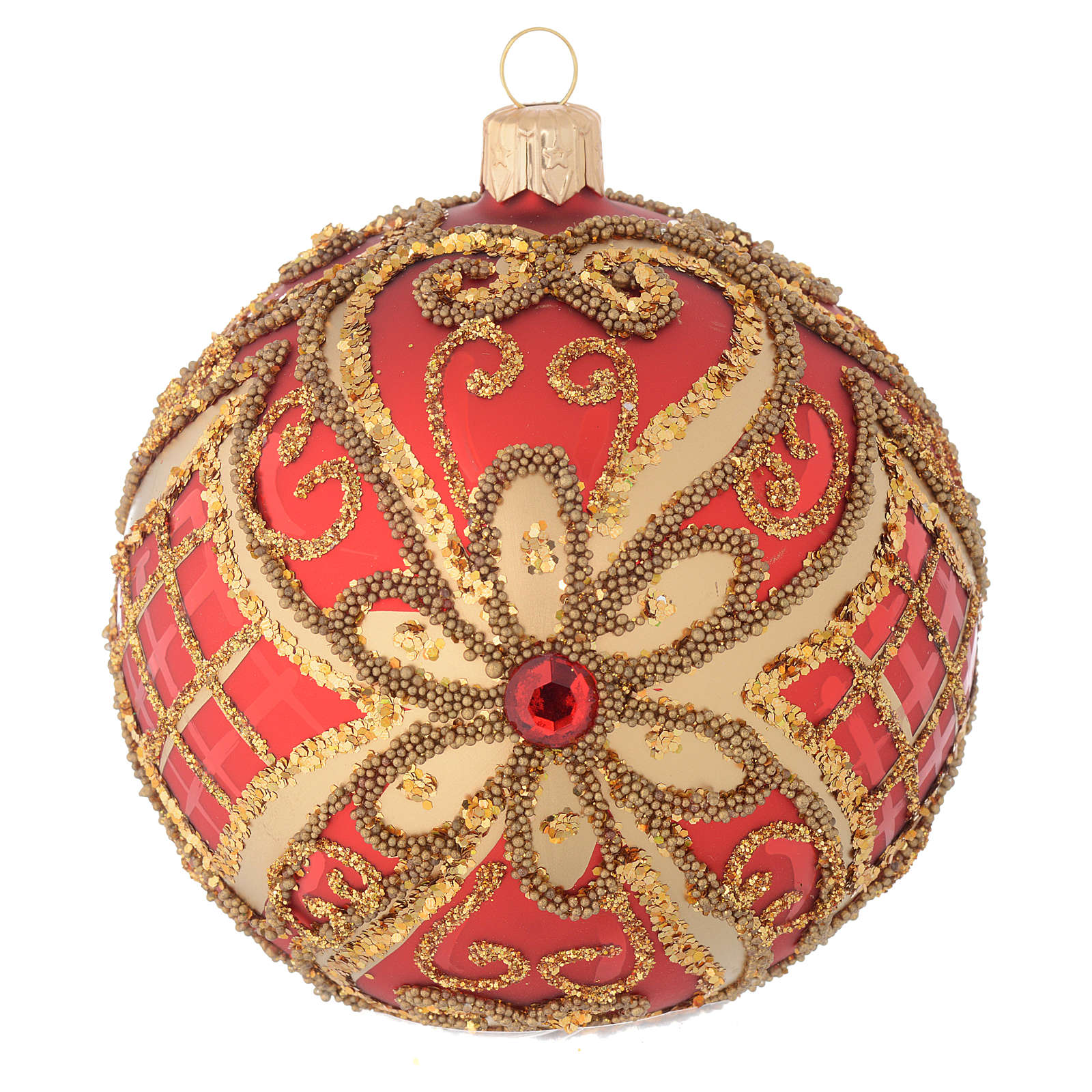 Christmas bauble in red blown glass with decorations in relief 100mm 4