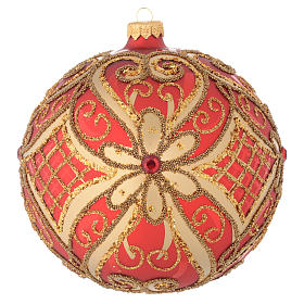 Christmas balls: Christmas bauble in red blown glass with decorations in relief 150mm