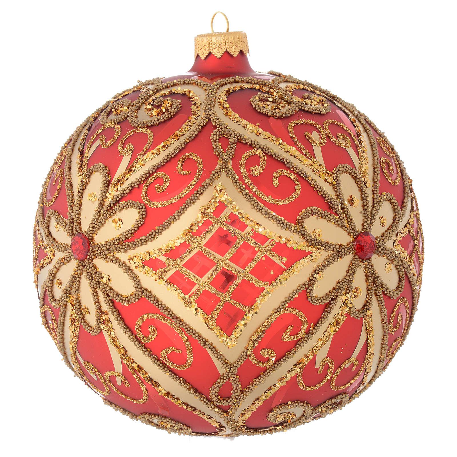 Bola de Navidad vidrio soplado rojo decoraciones en relieve 150 mm 4