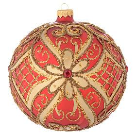 Bola de Navidad vidrio soplado rojo decoraciones en relieve 150 mm s1