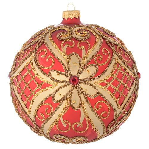Bola de Navidad vidrio soplado rojo decoraciones en relieve 150 mm 1