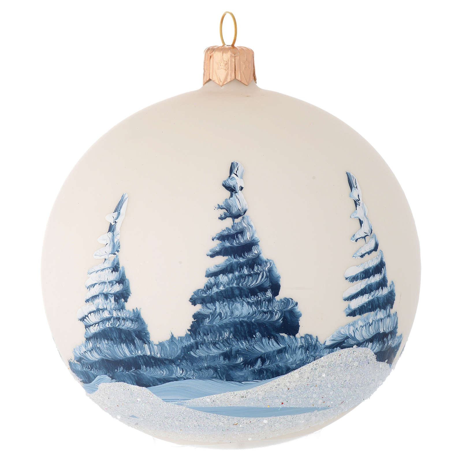 Christmas bauble in ivory blown glass with landscape 100mm 4