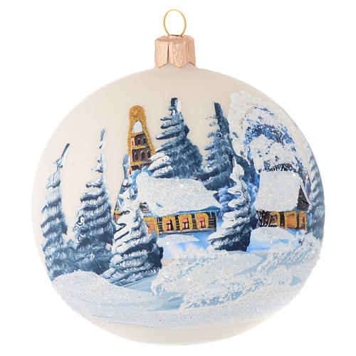 Christmas bauble in ivory blown glass with landscape 100mm 1