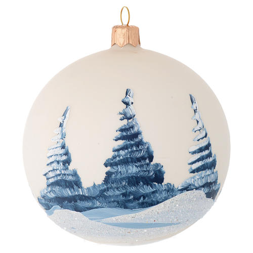 Christmas bauble in ivory blown glass with landscape 100mm 2