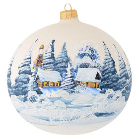 Christmas balls: Christmas bauble in ivory blown glass with landscape 150mm
