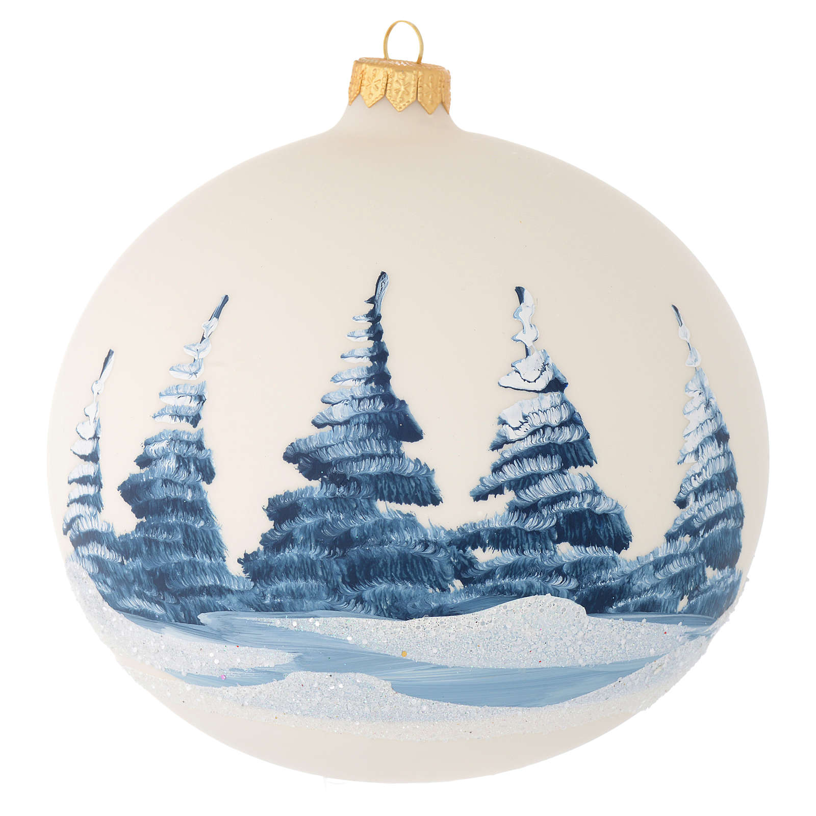 Bola de Navidad vidrio soplado blanco crema paisaje 150 mm 4