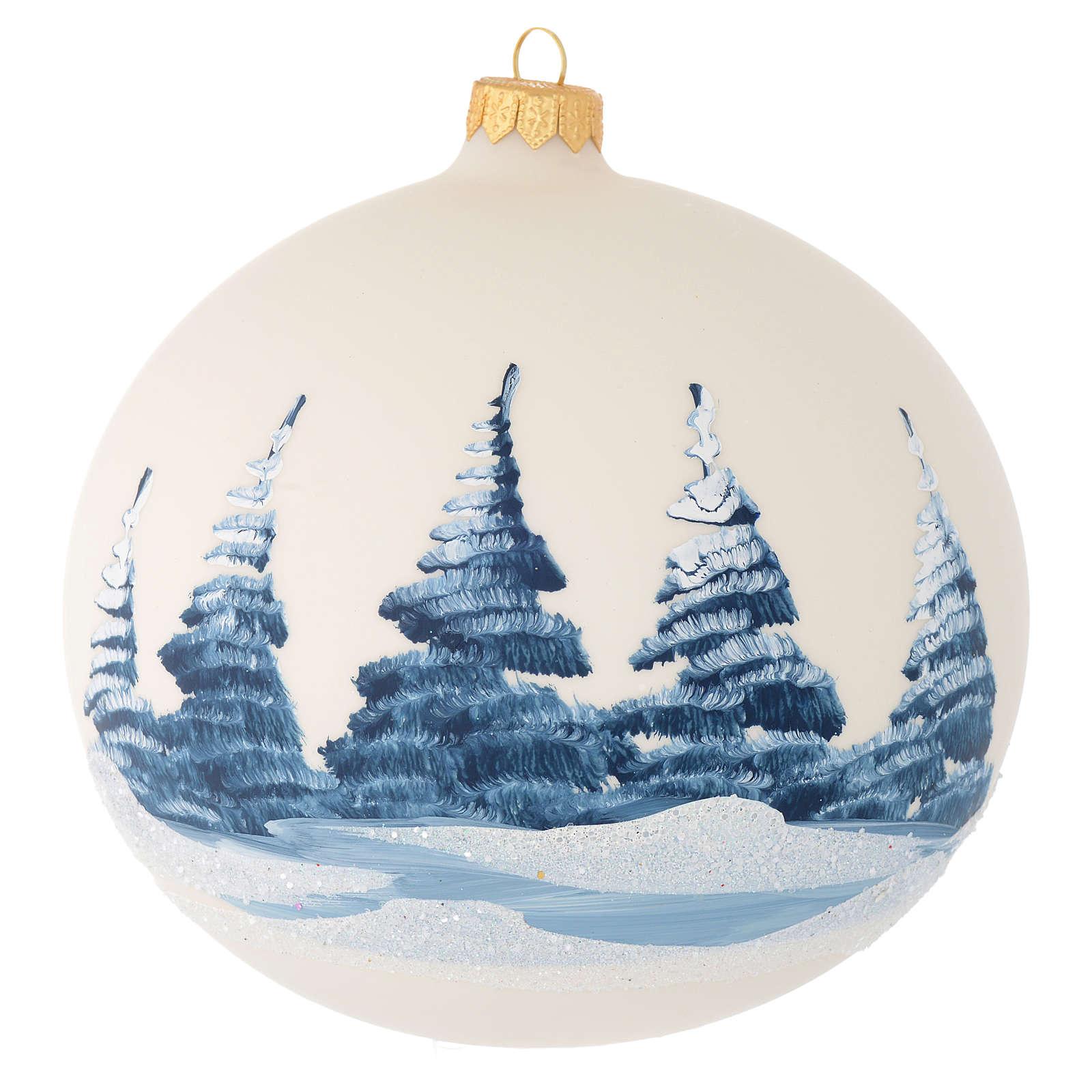 Palla Albero Natale vetro soffiato avorio paesaggio 150 mm 4