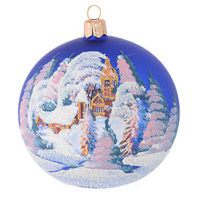 Christmas bauble in blue blown glass with decoupage landscape 100mm s1