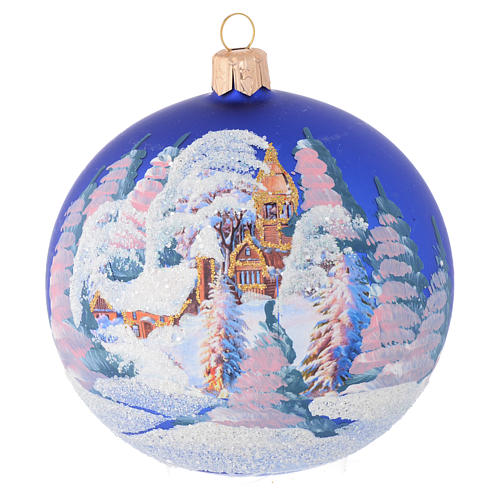 Christmas bauble in blue blown glass with decoupage landscape 100mm 1