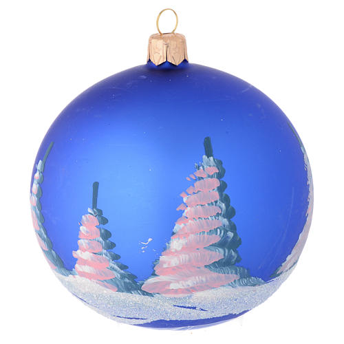 Christmas bauble in blue blown glass with decoupage landscape 100mm 2