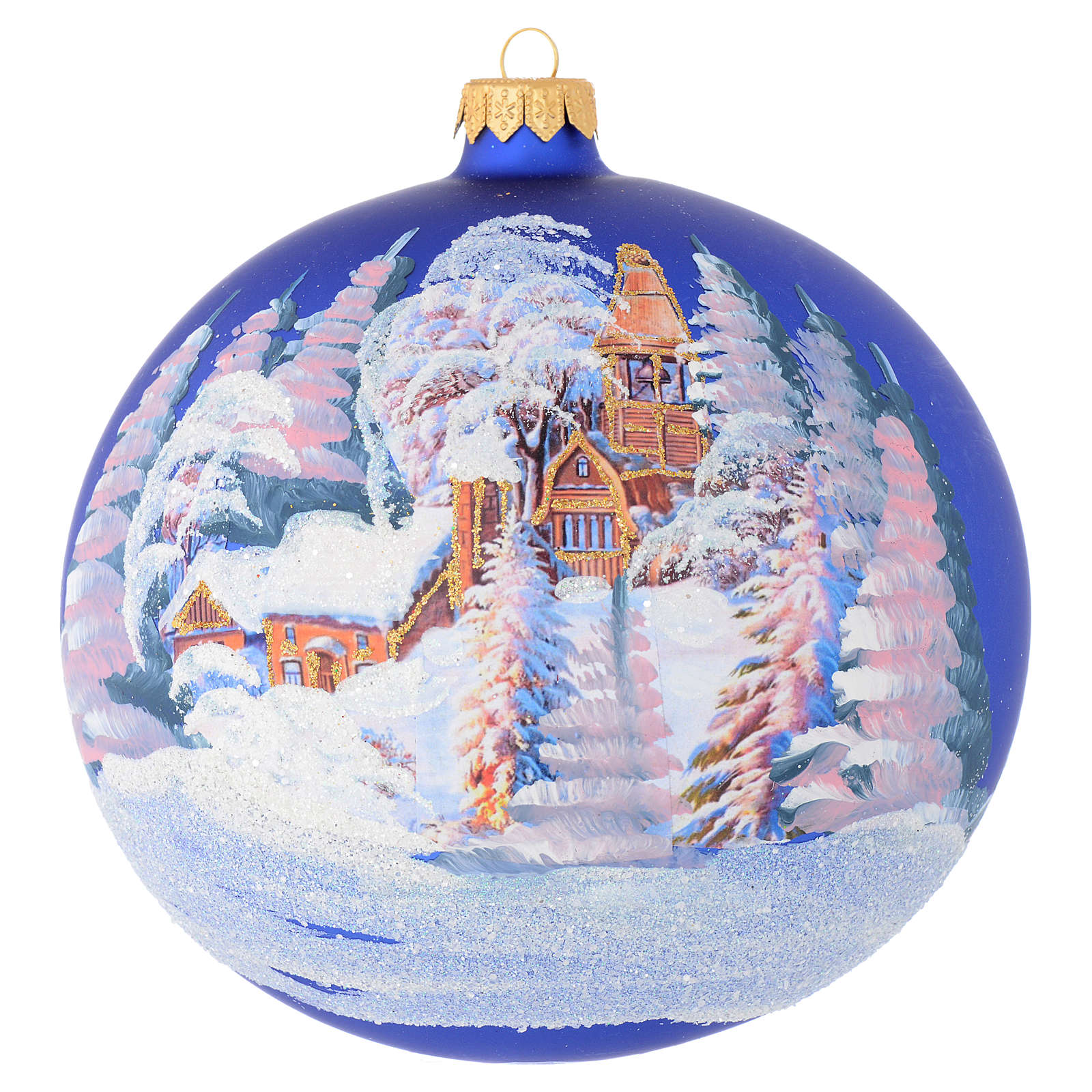 Christmas bauble in blue blown glass with decoupage landscape 150mm 4