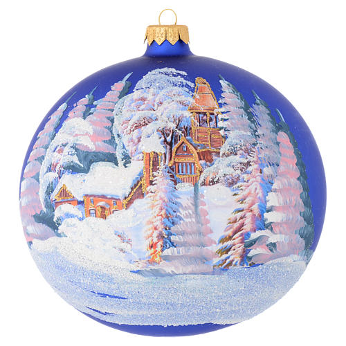 Christmas bauble in blue blown glass with decoupage landscape 150mm 1