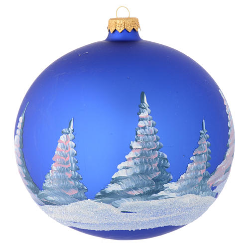 Christmas bauble in blue blown glass with decoupage landscape 150mm 2