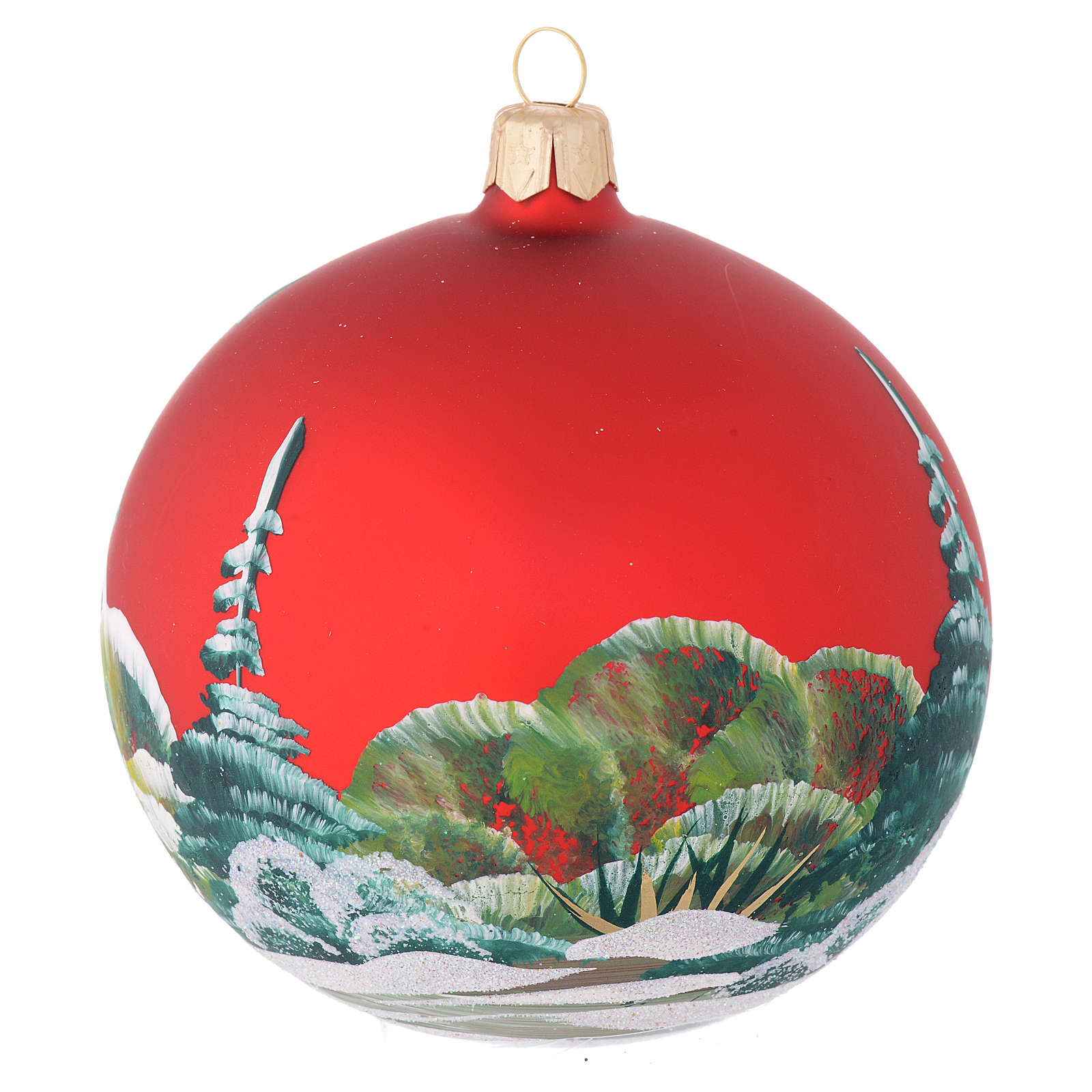 Christmas bauble in red blown glass with decoupage snowman 100mm 4