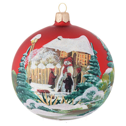 Christmas bauble in red blown glass with decoupage snowman 100mm 1
