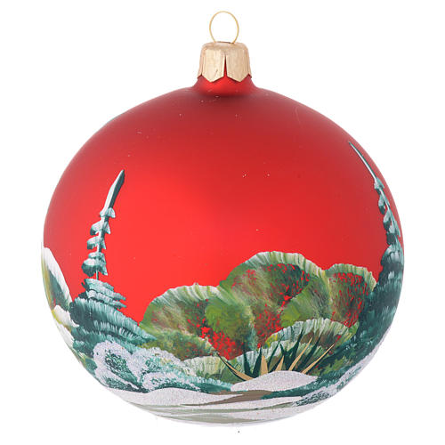 Christmas bauble in red blown glass with decoupage snowman 100mm 2