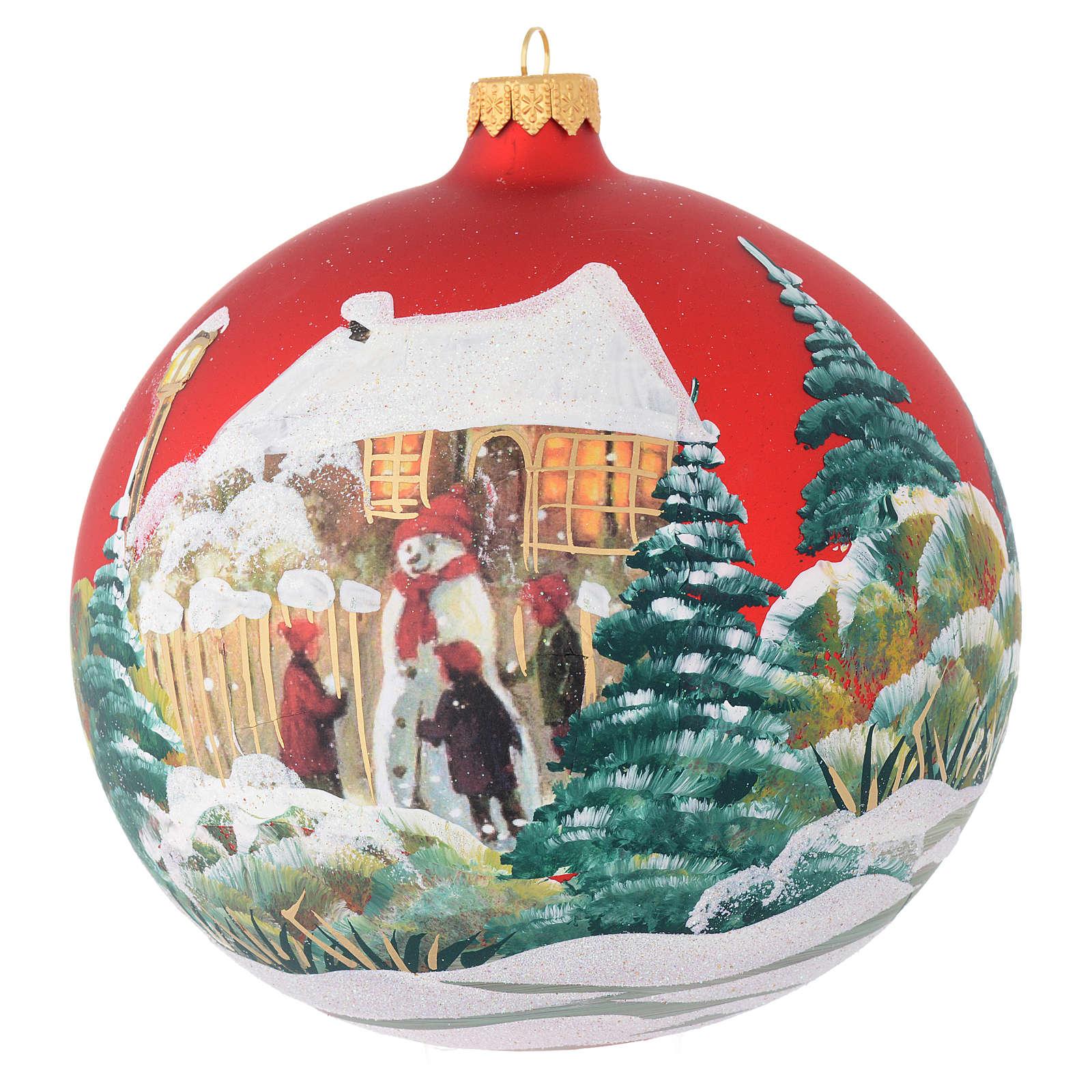 Bombka bożonarodzeniowa szkło czerwone decoupage bałwanek 150mm 4