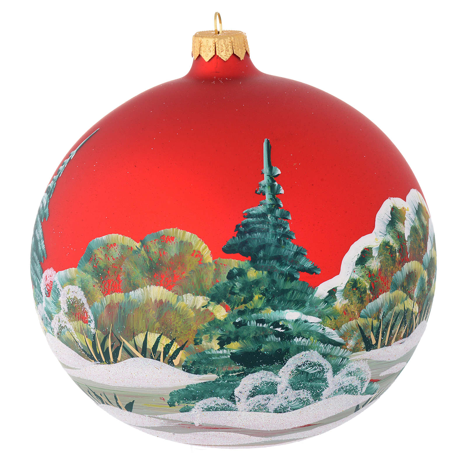 Christmas bauble in red blown glass with decoupage snowman 150mm 4