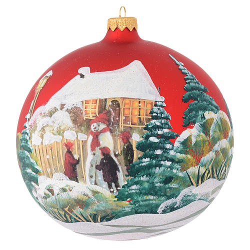 Christmas bauble in red blown glass with decoupage snowman 150mm 1