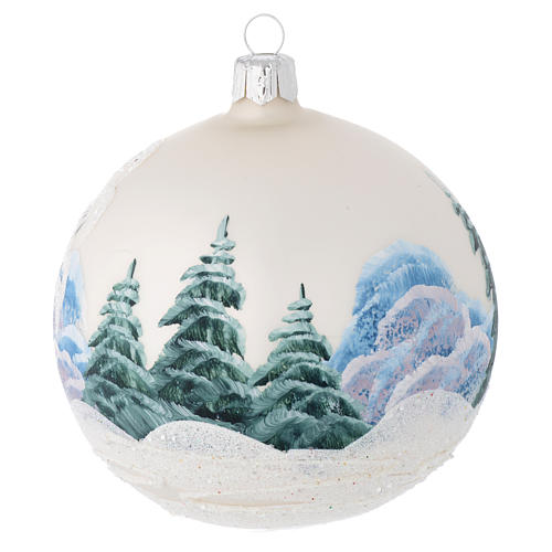 Christmas bauble in blown glass with decoupage winter landscape 100mm 2