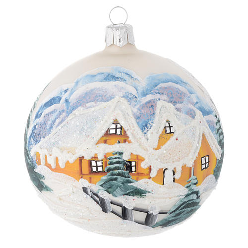 Christmas bauble in blown glass with decoupage winter landscape 100mm 1
