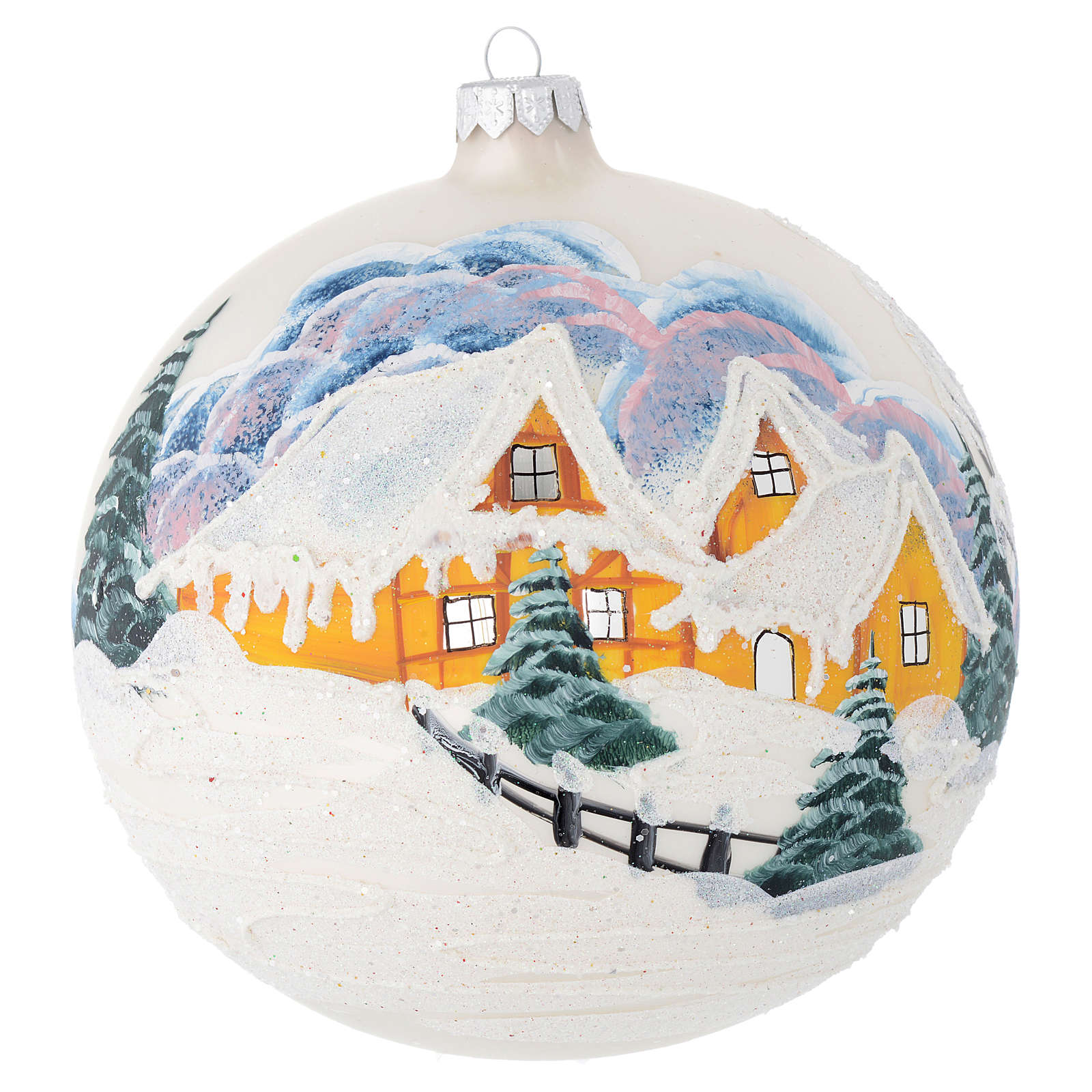 Bola de Navidad vidrio color perla con paisaje decoupage 150 mm 4