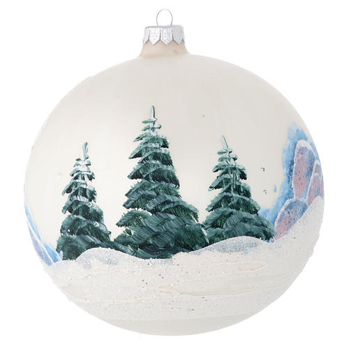 Bola de Navidad vidrio color perla con paisaje decoupage 150 mm 2