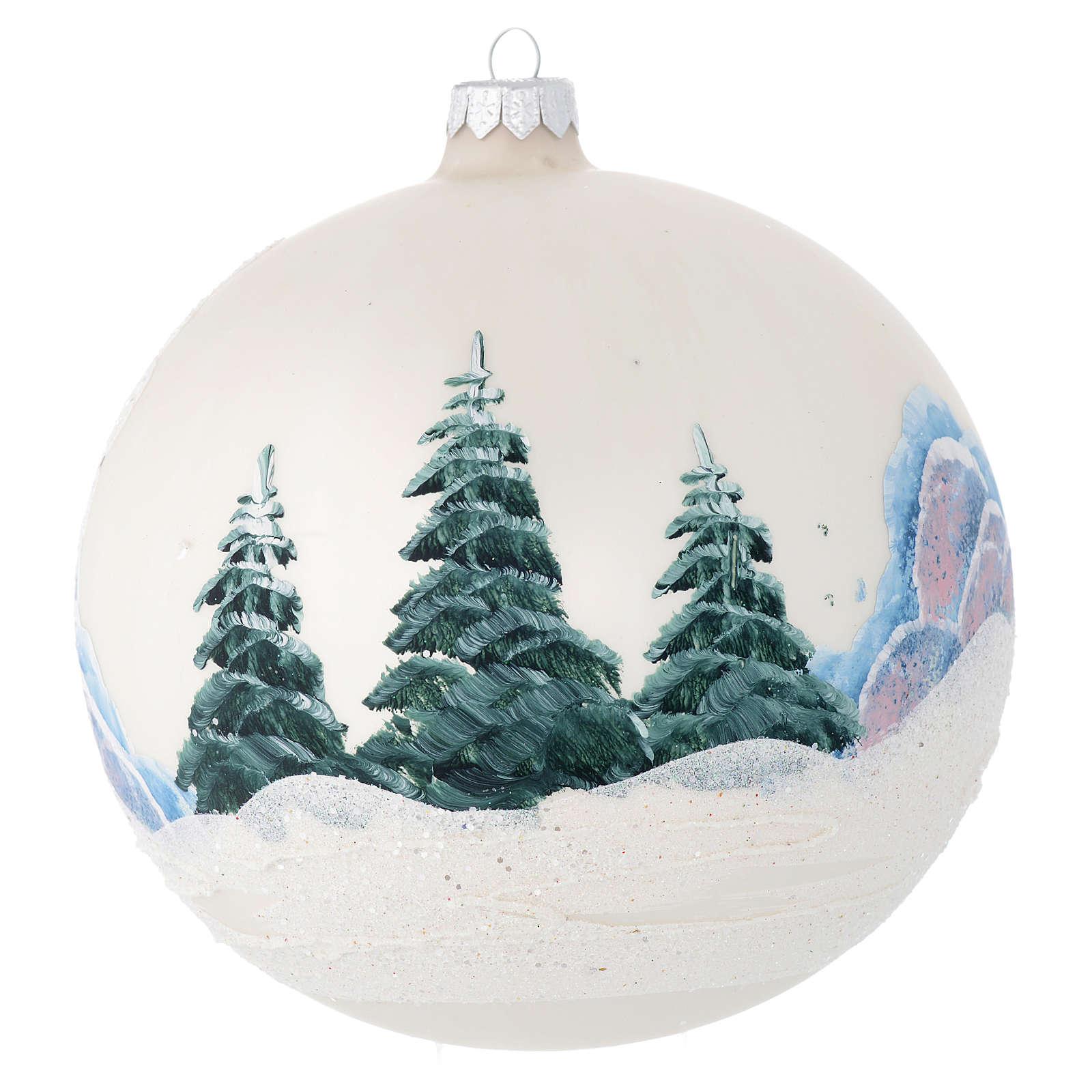 Palla Albero vetro color perla paesaggio decoupage 150 mm 4