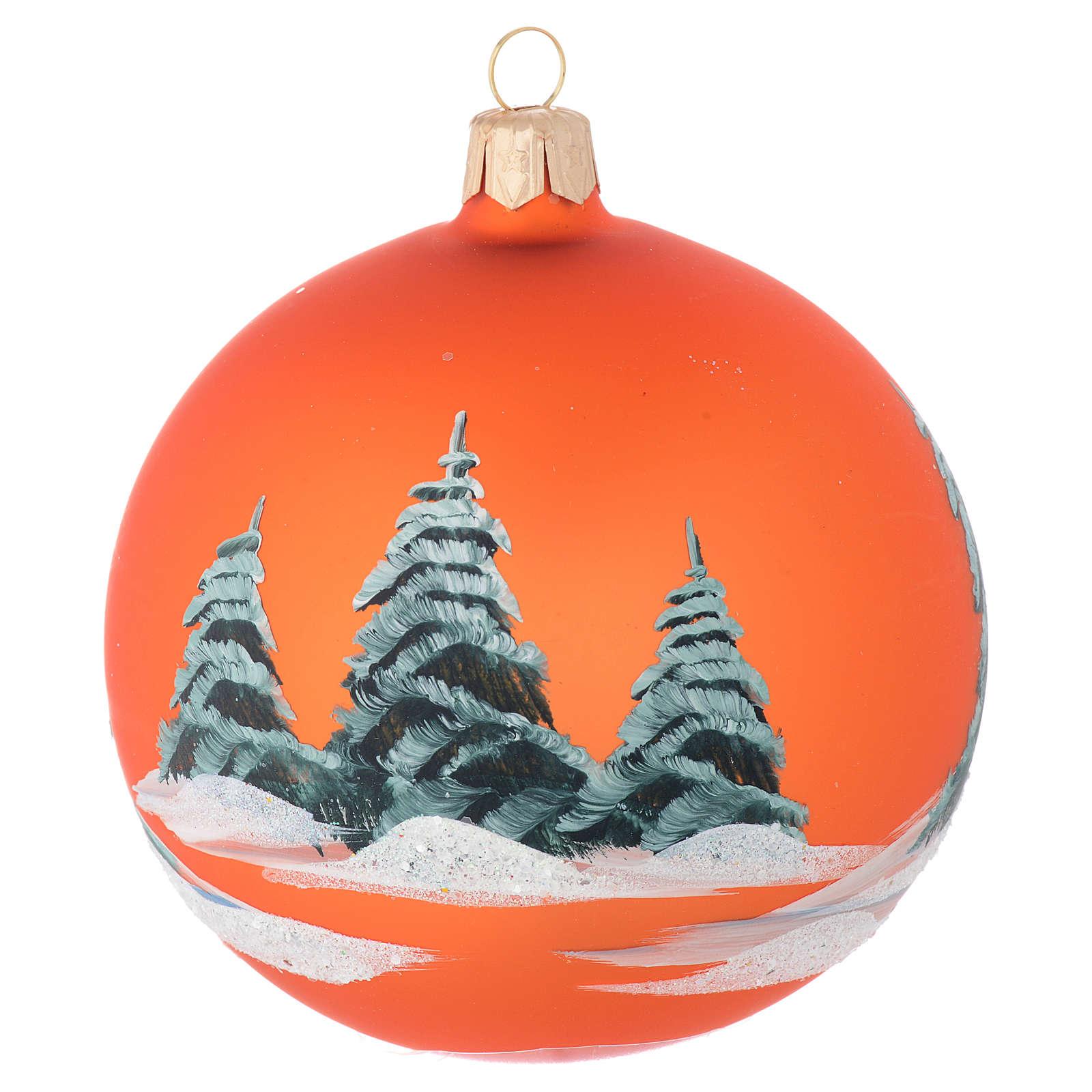 Pallina vetro arancione paesaggio decoupage 100 mm 4