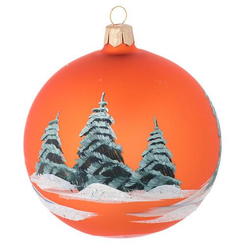 Pallina vetro arancione paesaggio decoupage 100 mm 2